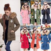 Womens Warm Coat Fur Collar Hooded Jacket Slim Winter Parka Outwear Coats