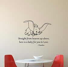 Dumbo Disney Wall Decal Quote Vinyl Sticker Poster Baby Nursery Decor Art 407