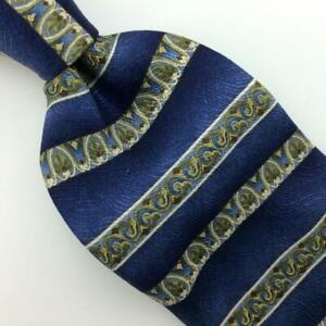 Van Heusen Tie Stripes Floral Blue Gold Silk Necktie Boys Children Ties I16-442