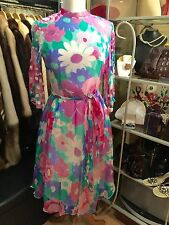 Stunning True Vintage 1960's Silk Chiffon Floral Dress - Size 10