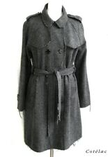 COTELAC - COAT DOUBLE BREASTED WOOL CHEVRON GRAY BLACK TAILLE 1 = 38 - LIKE NEW