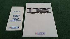 June 1988 NISSAN VANETTE SLX BUS GERMAN BROCHURE + VANETTE / URVAN COLOUR CHART