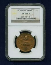 MEXICO ESTADOS UNIDOS  1951  20 CENTAVOS GEM UNCIRCULATED CERTIFIED NGC MS66-RB
