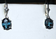 STERLING SILVER .925 LONDON BLUE TOPAZ 9X7MM OVAL 4.2CTW LEVER BACK NEW !!!!