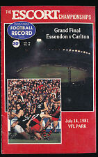 1981 Sterling Cup Essendon vs Carlton Grand Final Football Record Bombers won