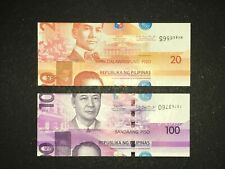 Philippines NGC 20 and 100 Pesos Double Error banknotes (Miscut and SN error)
