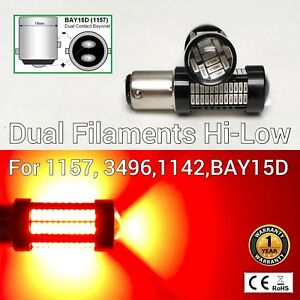 Front Signal Parking Light 1157 2057 3496 7528 BAY15D 108 SMD Red LED Bulb M1 AR