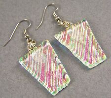 DICHROIC Glass EARRINGS Pink Gold Green Clear Opal Striped Dangle Surgical 1""