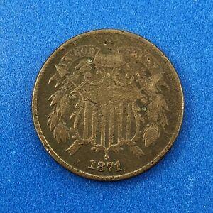 1871 P Bronze Two-Cent Piece Better Key Scarce Union Shield Philadelphia Coin