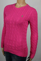Ralph Lauren Pink Cable Knit Crewneck Sweater Green Pony NWT
