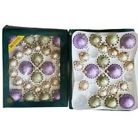 Glass Ball Ornaments Lot of 47 Visions by Holly Frosted Speckle Purple Green Vtg