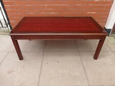 A Red Leather Inlay Glass Coffee Table ***DELIVERY AVAILABLE***