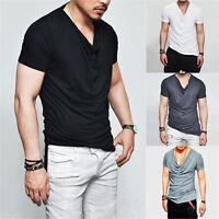 hombre manga corta cuello en 'V' Ajustado Casual Verano camiseta blusa