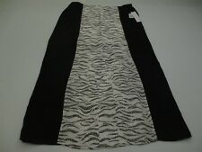KENSIE Women's Size L Straight Lined Long Textured Black/White Skirt