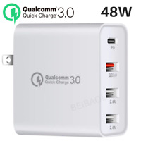 Multi USB C PD Fast Quick Charge 3.0 Wall Charger Adapter For Samsung iPhone LG