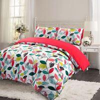 Red Pink Floral Leaf 100% Brushed Cotton Flannelette Duvet Cover Bedding Set