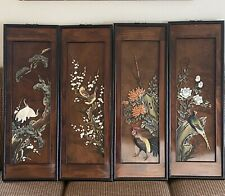 "Vtg Chinese Carved Lacquer Birds Wood Wall Art Panels 35""H 12""L 1""W Set of 4"