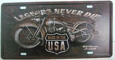 Tin Metal Wall Art Legends Never Die Licence Plate Car Number Garage Poster