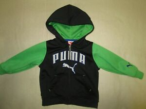 VERY SHARP 12 MONTHS PUMA HOODIE BRIGHT GREEN & BLACK INFANT TODDLER QUALITY