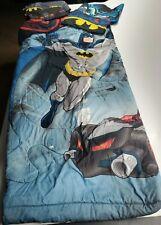 Boys Twin Size Batman Bedding Set - Reversible, blue, black, gray