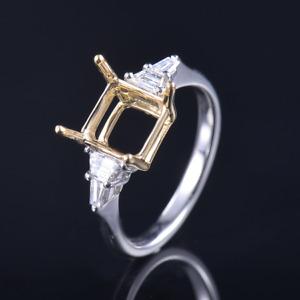 Emerald Cut 7.5×7.5mm Natural Trapezoid Diamond Ring Setting 14K Two-Tone Gold