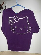 Hello Kitty size 14 Junior girl Purple hoody Top with silver Graphic Sheer VTG