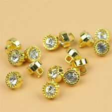 30 Pcs Gold Crystal Rhinestone Plastic Shank Buttons Scrapbooking Sewing Bottons