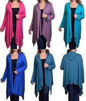 Hooded Open Drape Front Long Sleeve Cardigan/Cover-Up Plus Tunic Top