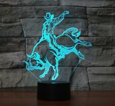 3D illusion Bull Rider LED Night light 7 Changeable Colors Table Desk Lamp Gifts