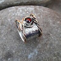 Garnet Stone Solid 925 Sterling Silver Band Meditation Statement Ring Size M413