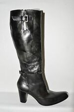 VIC MATIE SZ 8 M 38 PEWTER BLACK DISTRESSED LEATHER KNEE HIGH BOOTS ITALY
