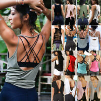 Womens Sports Yoga Vest Shirt Gym Workout Fitness Running Tank Tops Racerback O8