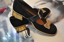 "WOMEN PARTY SHOES 100% SUEDE BLACK & GOLD ""MARNI"",PATENT LEATHER 4 SIZE"