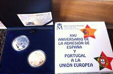 ESPAÑA Y PORTUGAL  2 x  10 euros plata 2011 proof Adhesión a la Union Europea