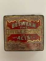 Vintage Between The Acts Little Cigar Smoking Tobacco Tin Hinged Lid Empty 3-1/4
