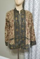 Galena Womens Jacket Embroidered Small Floral India Cotton Boho Lined Pocket EUC