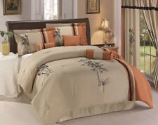 7-piece Kariya Embroidery Bamboo Comforter Set Full Rust/Light Taupe