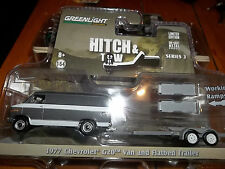 GREENLIGHT 1/64 HITCH & TOW SERIES 3 GREY 1977 CHEVY G20 VAN AND FLATBED TRAILER
