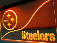 Pittsburgh Steelers Neon Yellow Led Sign Light Bar Man Cave No Drop Ship Fast US
