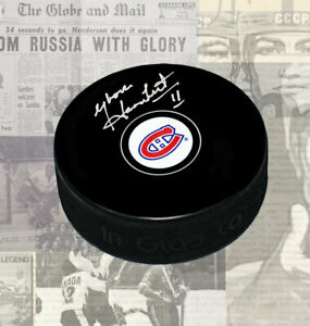 Yvon Lambert Montreal Canadiens Autographed Puck
