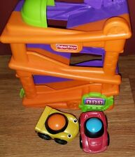 fisher price little people little zoomer raceway purple orange & 2 cars