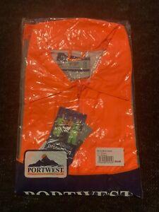 Portwest Hi Vis Viz Safety Rain Jacket, Medium, Waterproof With Hood H440