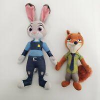 "Disney Zootopia Nick Wilde Fox 10"" & Lt Judy Hopps Rabbit 15"" Plush Lot 2"