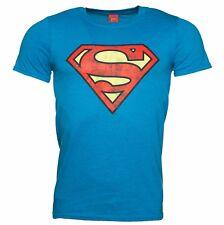 Superman Mens Unisex Slim Fit T-Shirt Top Classic Super Hero Comic Gift Blue