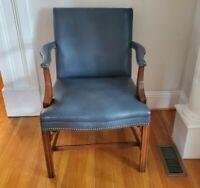Local Pickup - Vintage Blue Leather Armchair Nailhead Trim