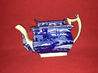 Historical Staffordshire Dark Blue Teapot English Scene By Wood 1825