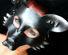 Midnight Fox Mask Handmade Leather Venetian Masquerade black/silver