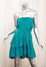MIU MIU Womens Teal Blue-Green Cotton Strapless Pleated Belted Mini Dress 38/2