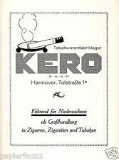 Kero Zigaretten Zigarren Tabak Hannover Reklame 1924 Talstrasse Niedersachsen ad