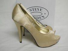 Steve Madden 10 M New Womens Feelixx Champagne Satin Open Toe Heels Shoes NWB